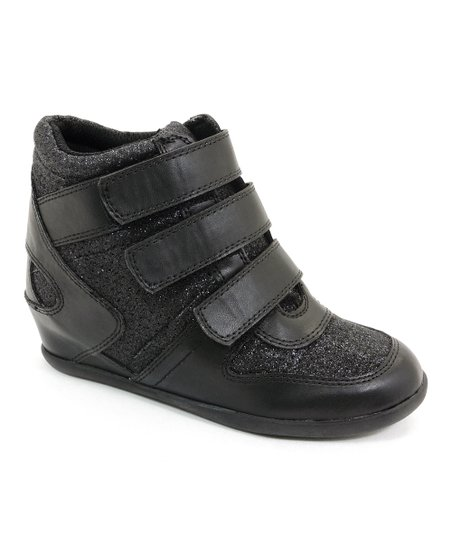 Black Glitter Unzip Wedge Sneaker