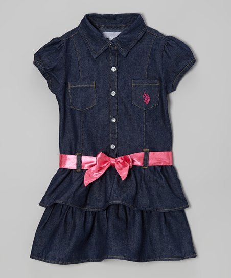 Denim & Pink Belted Ruffle Button-Up Dress - Girls