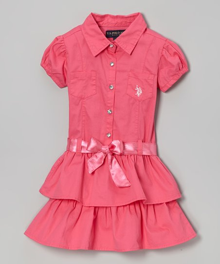 Pink Ruffle Sash Button-Up Dress - Girls