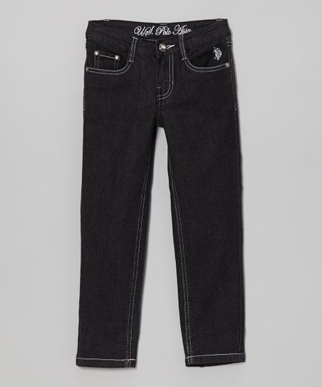 Dark Wash & White Skinny Jeans - Toddler & Girls