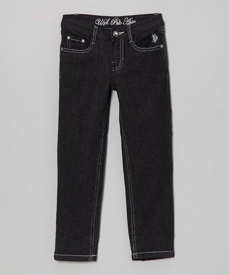 Dark Wash & White Skinny Jeans - Toddler & Girls