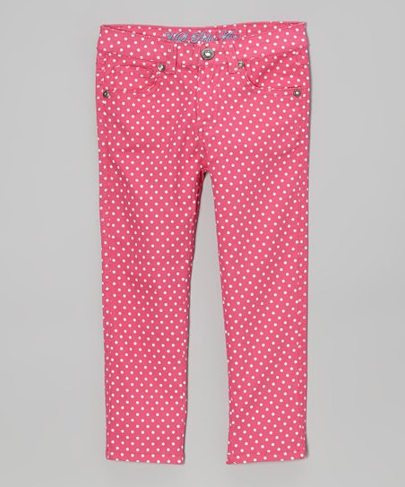 Pink Polka Dot Skinny Jeans - Girls