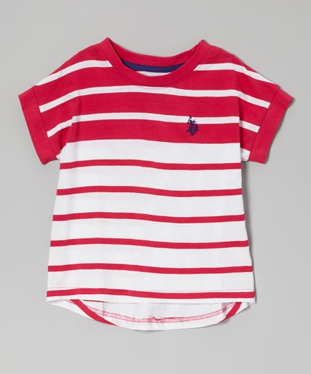 Red & White Color Block Stripe Tee - Toddler & Girls