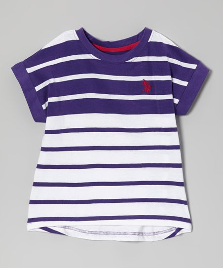 Purple & White Color Block Stripe Tee - Girls