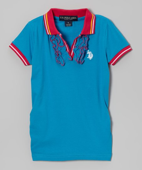Blue & Pink Ruffle Polo - Toddler & Girls