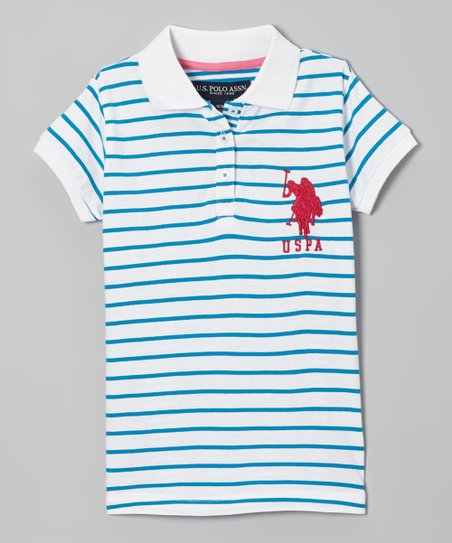 White & Blue Stripe Polo - Toddler & Girls