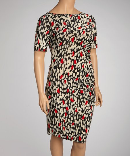 Black & Red Abstract Shirred Dress - Plus