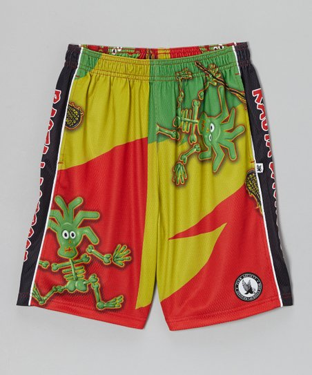 Red Rasta Skeleton Lacrosse Shorts - Boys