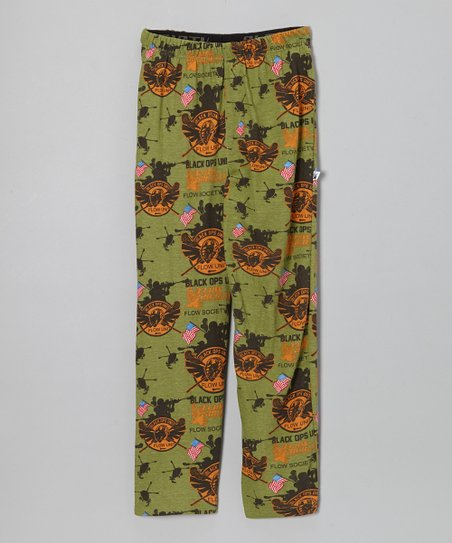 Green Black Ops Warm-Up Pants - Boys