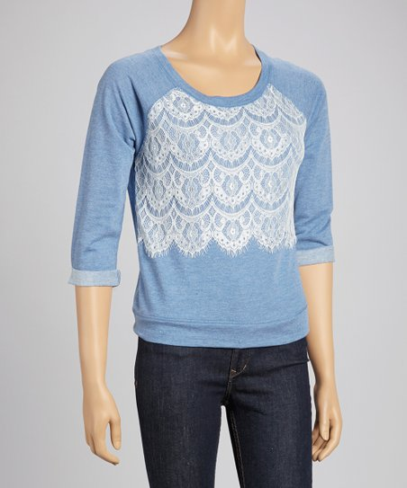Nautical Navy Lace Front Three-Quarter Sleeve Top