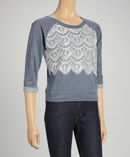 Chambray Sky Lace Front Three-Quarter Sleeve Top