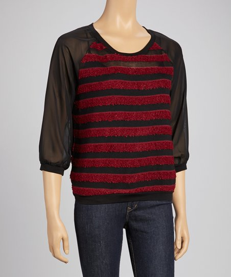 Garnet & Black Texture Stripe Blouson Sweater