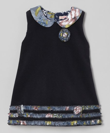 Navy Floral Collar Wool-Blend A-Line Dress - Girls