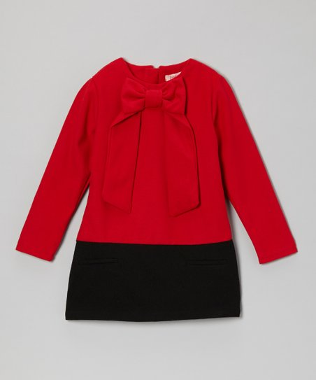 Red & Black Bow-Neck Wool-Blend Dress - Girls
