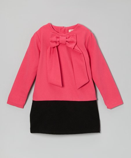 Fuchsia & Black Bow Wool-Blend Dress - Toddler & Girls