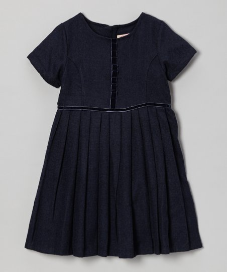 Navy Pleated Wool-Blend Dress - Toddler & Girls