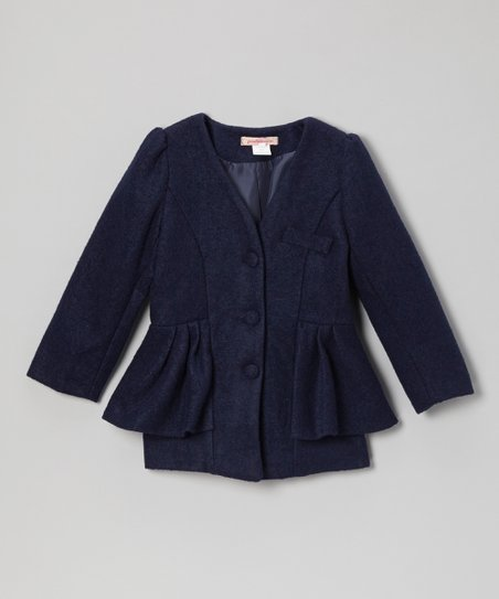Navy Peplum Collarless Jacket - Toddler & Girls