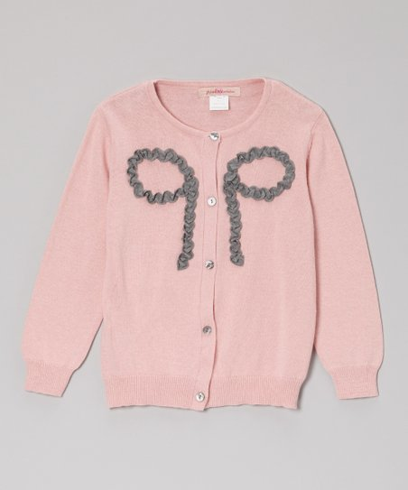 Pink Ruffle Bow Cardigan - Toddler & Girls