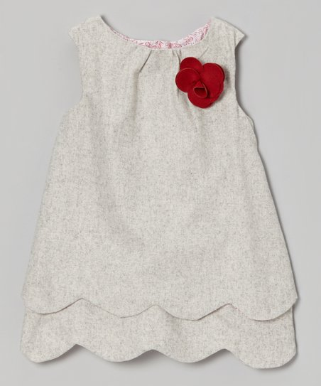 Gray Scalloped Wool-Blend Swing Tunic - Girls