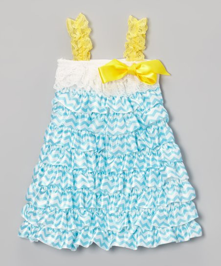 Yellow & Blue Zigzag Lace Dress - Toddler & Girls