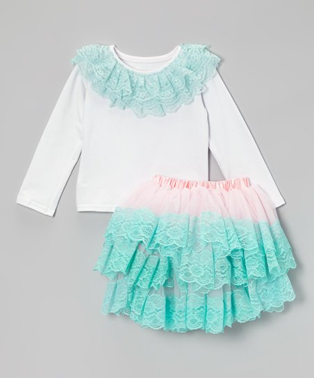 White Lace Tee & Pink & Teal Lace Tutu - Toddler & Girls