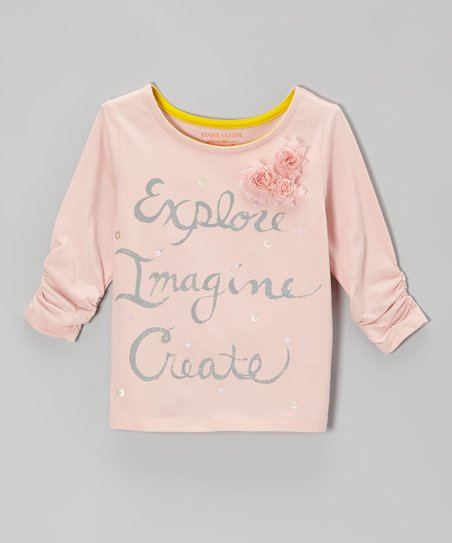 Pearl 'Explore, Imagine, Create' Ruched Tee - Toddler & Girls