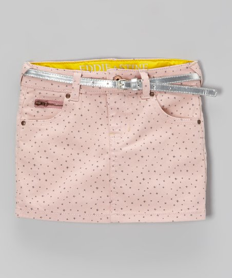 Pink & Silver Polka Dot Belted Denim Skirt - Girls