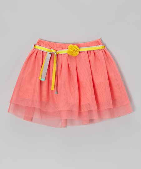 Neon Sugar Coral Belted Tulle Skirt - Toddler & Girls