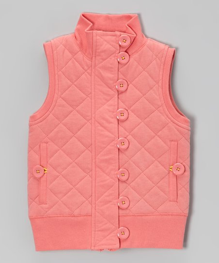 Sugar Coral Quilted Vest - Girls