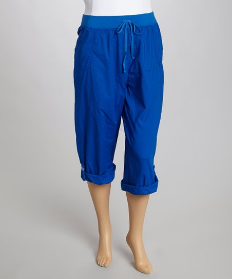 Cobalt Drawstring Getaway Clam Digger Pants - Plus