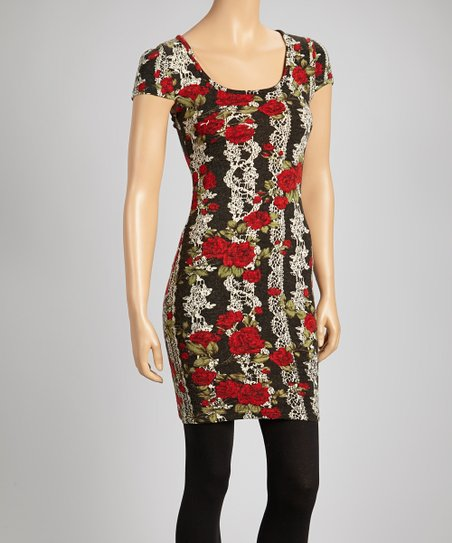 Black & Red Rose Dress