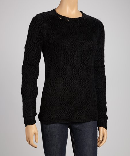 Black Sheer Wave Sweater