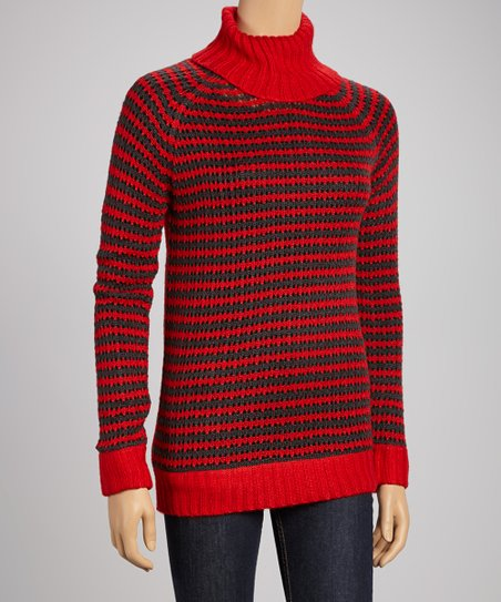 Red & Charcoal Stripe Turtleneck Sweater
