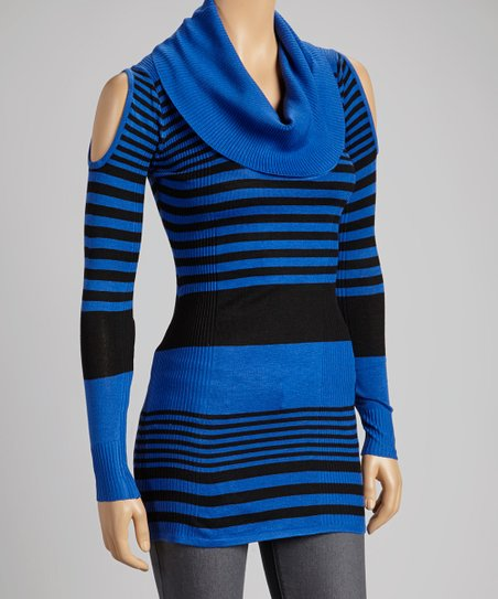 Royal Blue & Black Stripe Cowl-Neck Sweater