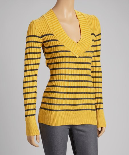 Mustard & Charcoal Stripe V-Neck Sweater