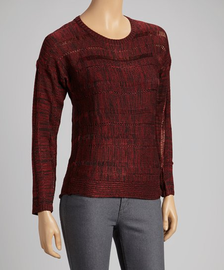 Dark Red Textured Sweater