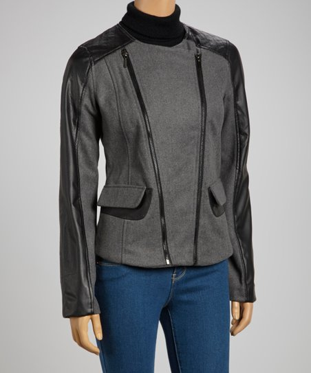 Charcoal & Black Double Zipper Coat - Women