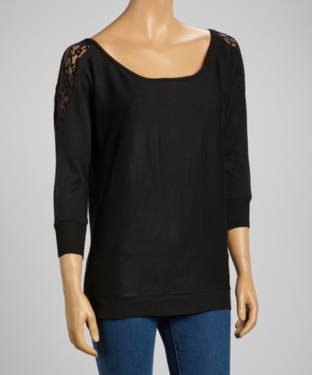 Black Lace-Shoulder Sweater