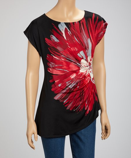 Black & Red Floral Short-Sleeve Top