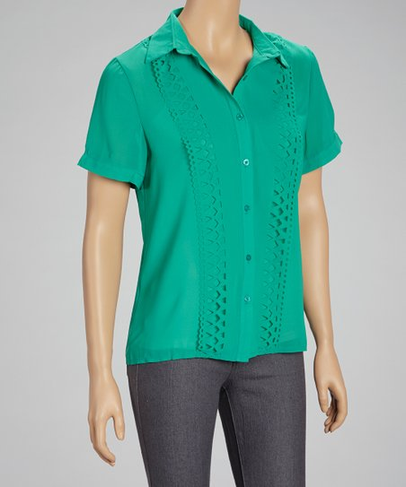 Jade Sheer Cutout Button-Up