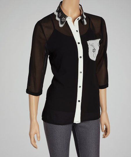 Black & White Laser Cut Button-Up
