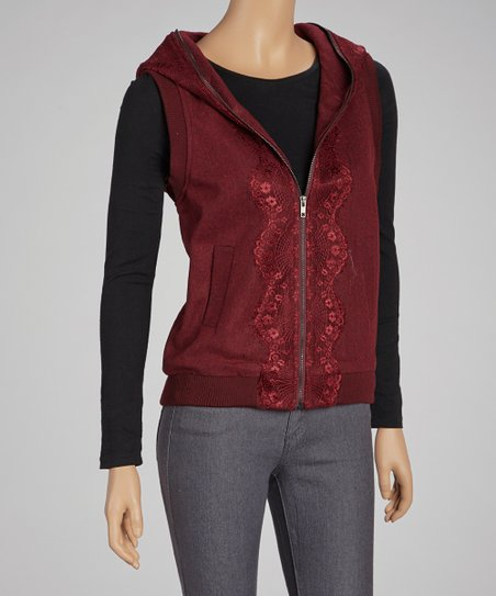 Burgundy Lace-Trim Hooded Vest