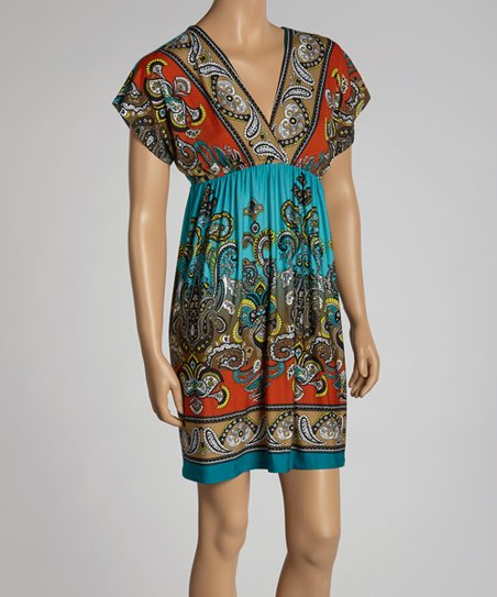 Aqua & Orange Paisley Surplice Dress - Women