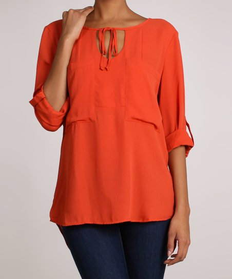 Rust V-Neck Top