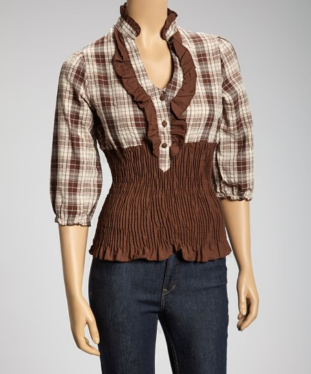 Brown Plaid Smocked Crop Top