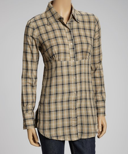 Brown Plaid Button-Up