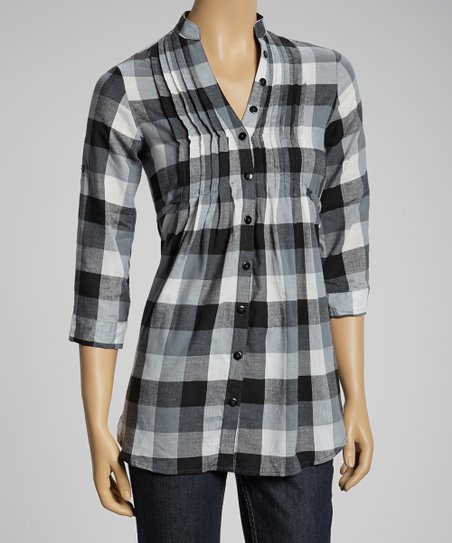 Black & White Block Plaid Short-Sleeve Button-up