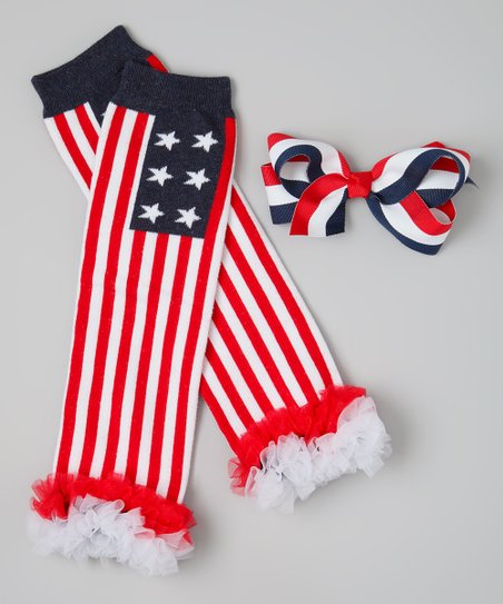 Red & Blue Flag Ruffle Leg Warmers & Bow Clip