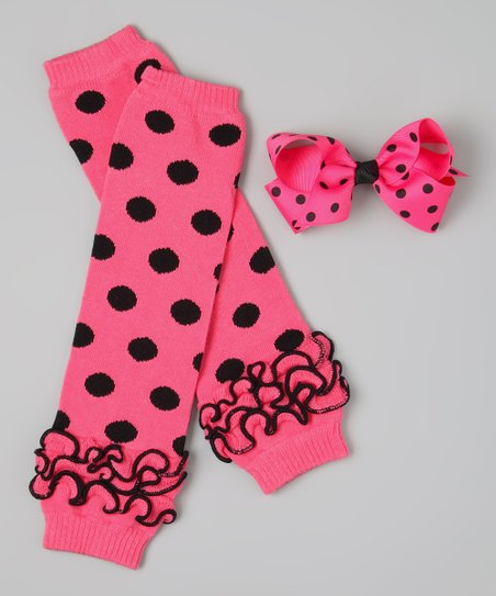 Hot Pink &amp; Black Polka Dot Leg Warmers &amp; Bow Clip