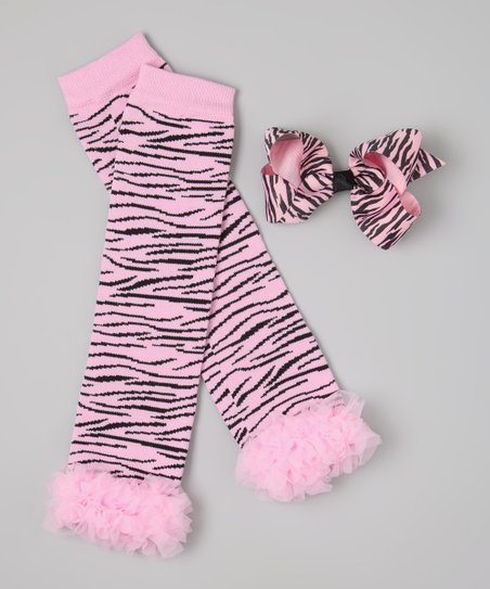 Light Pink & Zebra Ruffle Leg Warmers & Bow Clip